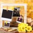 Autumnal composition with flowers, photo cards, wooden frame on bright background — Stok fotoğraf