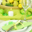 Beautiful holiday table setting with apples, close up — Stock Photo #18595823