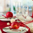 Beautiful holiday table setting with apples, close up — Stock Photo #18595849