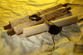 Old scrolls, on brown paper background — Stock Photo