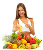 Beautiful young woman with fruits and vegetables and glass of juice, isolated on white — Stock Photo