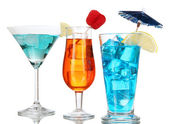 Alcoholic cocktails with ice isolated on white — Stock Photo
