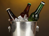 Beer bottles in ice bucket on darck yellow background — Stock Photo