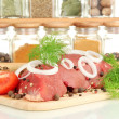 Raw beef meat with spices — Stock Photo