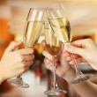 Corporate party sparkling champagne glasses — Stock fotografie
