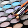 Eye shadows and brushes close-up - Stock Photo