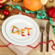 Diet during the New Year's feast close-up — Stock Photo