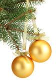 Weihnachtskugel tanne baum, isoliert auf weiss — Stockfoto