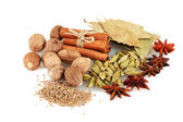 Muskot och andra kryddor som isolerad på vit — Stockfoto