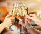 Corporate party sparkling champagne glasses — Stock Photo