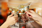 Corporate party martini glasses — Stock Photo