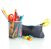 Pencil box with school equipment isolated on white — Stock Photo
