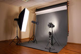 Photo studio with lighting equipment — Stok fotoğraf