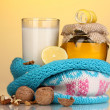 Stock Photo: Healthy ingredients for strengthening immunity on yellow background