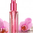 Women's perfume in beautiful bottle and orchid flowers, isolated on white — Stock Photo #18658967