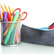 Pencil box with school equipment isolated on white — Stock Photo #18659333
