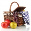 Picnic basket with fruits and blanket isolated on white — Stock Photo #18659391