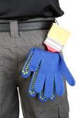 štětec a rukavice, vzadu kapsy detail — Stock fotografie