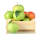 Sweet apples in wooden crate, isolated on white — Stock Photo
