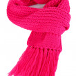 Warm knitted scarf pink isolated on white — Stock Photo