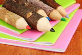 Colorful wooden pencils with exercisebooks on wooden table — Stock Photo