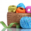 Bright threads for knitting in the basket isolated on white — Stock Photo