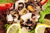 Healthy Seafood Salad with shrimps,octopus and mussels,squids — Stock Photo
