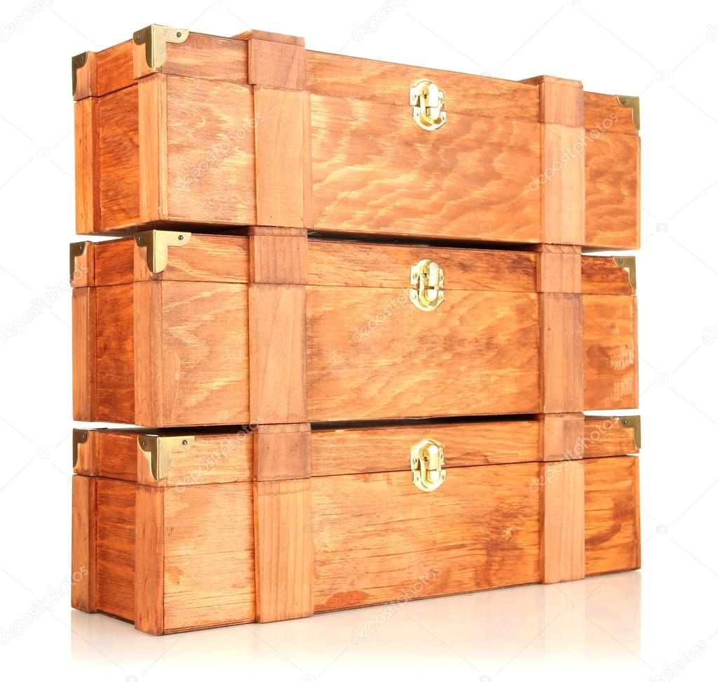 Wooden boxes for wine isolated on white — Stock Photo #18749821