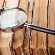Magnifying glass over the stack of books - Foto Stock