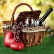 Picnic basket and bottle of wine on grass on bright background — Stock Photo #18750611