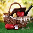 Picnic basket and bottle of wine on grass on bright background — Stock Photo #18775585