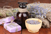 Lavender flowers and jar — Stock Photo