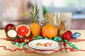 Dietary food on New Year's table on room background — Stock Photo