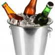 Beer bottles in ice bucket isolated on white — Stock Photo #18822813