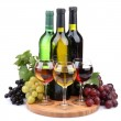 Bottles and glasses of wine and assortment of grapes, isolated on white — Stock Photo #18824925