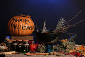 Scary halloween laboratory in blue light — Foto de Stock