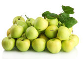 Juicy apples with green leaves, isolated on white — Stock Photo