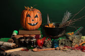Scary halloween laboratory in green light — Stock Photo