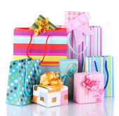 Bright gift bags and gifts isolated on white — 图库照片