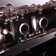 Close up detail of clarinet on gray background — Stock Photo