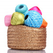 Bright threads for knitting in the basket isolated on white — Stock Photo #18846917