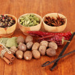 Nutmeg and other spices on wooden background — Stock Photo #18847329