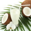 Royalty-Free Stock Photo: Coconuts with glass of milk, isolated on white