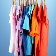 Variety of casual shirts on wooden hangers,on blue background — Stock Photo #18848431