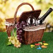 Picnic basket and bottle of wine on grass on bright background — Stock Photo #18848789