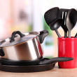 Kitchen tools on table in kitchen — Stock Photo #18848811