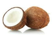 Kokosnoten, geïsoleerd op wit — Stockfoto