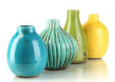 Decorative ceramic vases isolated on white — Stock Photo