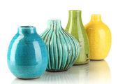 Decorative ceramic vases isolated on white — Stock Photo