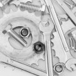 Machine gear, metal cogwheels, nuts and bolts background, close-up — Stock Photo